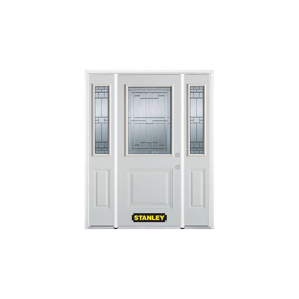 STANLEY Doors Porte dentrée en acier préfini en blanc, munie d'un panneau et dun 1/2 verre, 66 po x 82 po avec panneaux latéraux et moulure de brique