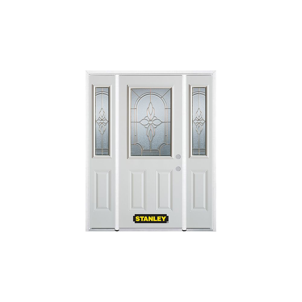 STANLEY Doors 68.5 inch x 82.375 inch Trellis Brass 1/2 Lite 2-Panel Prefinished White Left-Hand Inswing Steel Prehung Front Door with Sidelites and Brickmould