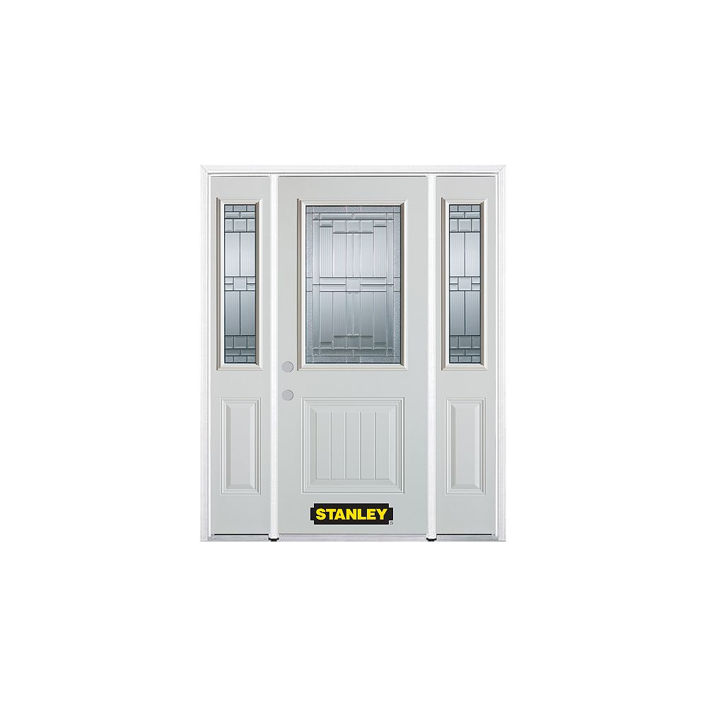 STANLEY Doors 66.5 inch x 82.375 inch Seattle Zinc 1/2 Lite 1-Panel Prefinished White Right-Hand Inswing Steel Prehung Front Door with Sidelites and Brickmould - ENERGY STAR®