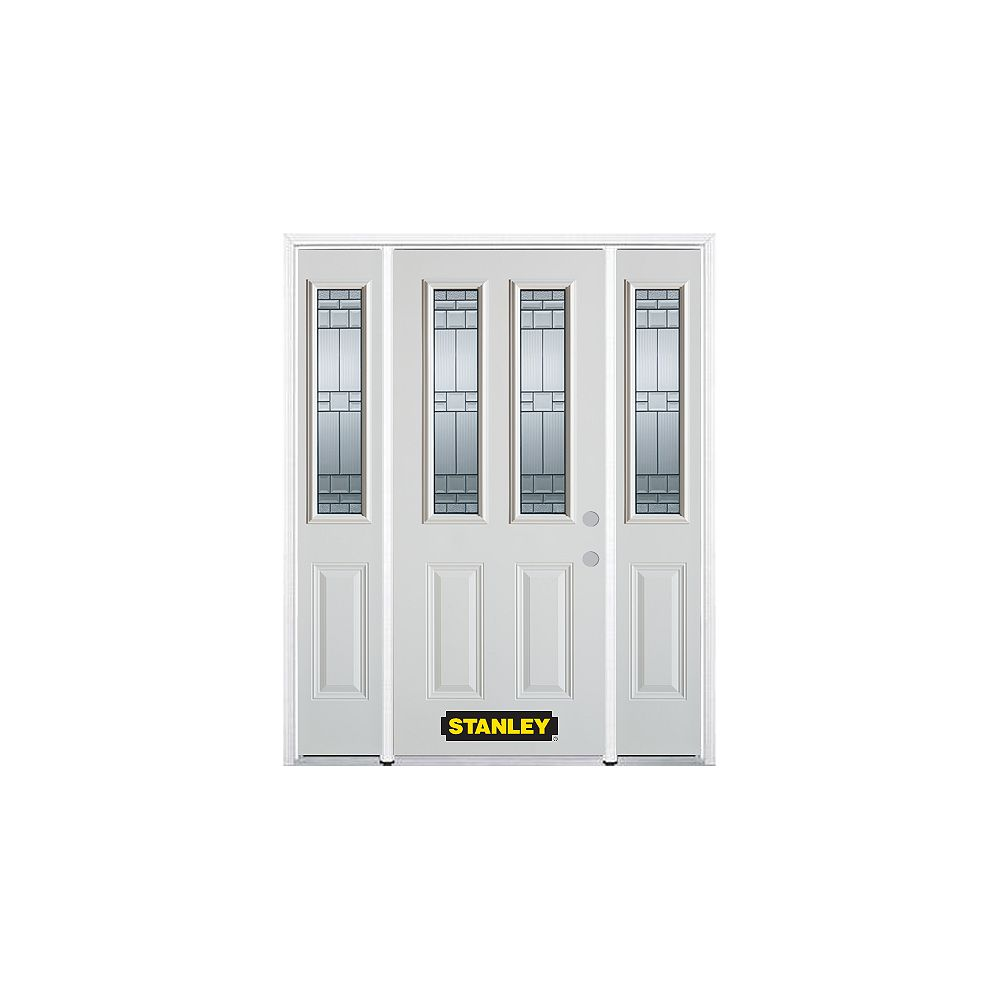 STANLEY Doors 64.5 inch x 82.375 inch Seattle Zinc 2-Lite 2-Panel Prefinished White Left-Hand Inswing Steel Prehung Front Door with Sidelites and Brickmould