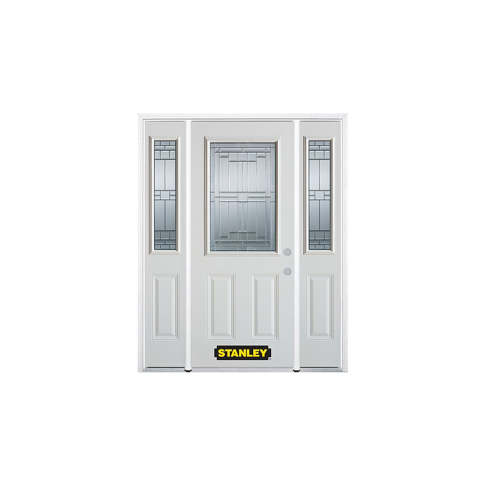 STANLEY Doors 66.5 inch x 82.375 inch Seattle Zinc 1/2 Lite 2-Panel Prefinished White Left-Hand Inswing Steel Prehung Front Door with Sidelites and Brickmould