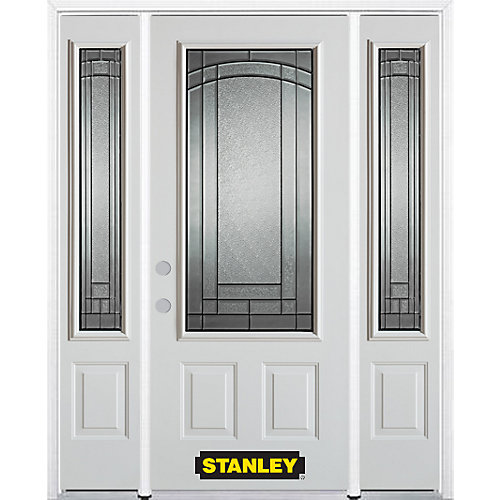 66.5 inch x 82.375 inch Chatham Patina 3/4 Lite 2-Panel Prefinished White Right-Hand Inswing Steel Prehung Front Door with Sidelites and Brickmould