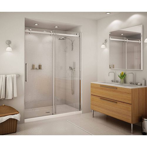 Halo 56-1/2 - 59W x 78-3/4H Frameless Sliding Shower Door in Chrome with Clear Glass