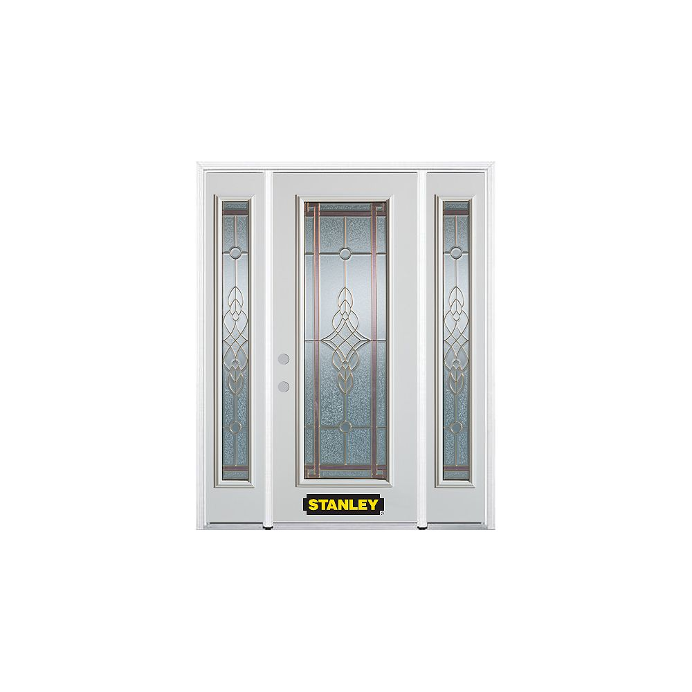 STANLEY Doors 68.5 inch x 82.375 inch Milano Brass Full Lite Prefinished White Right-Hand Inswing Steel Prehung Front Door with Sidelites and Brickmould