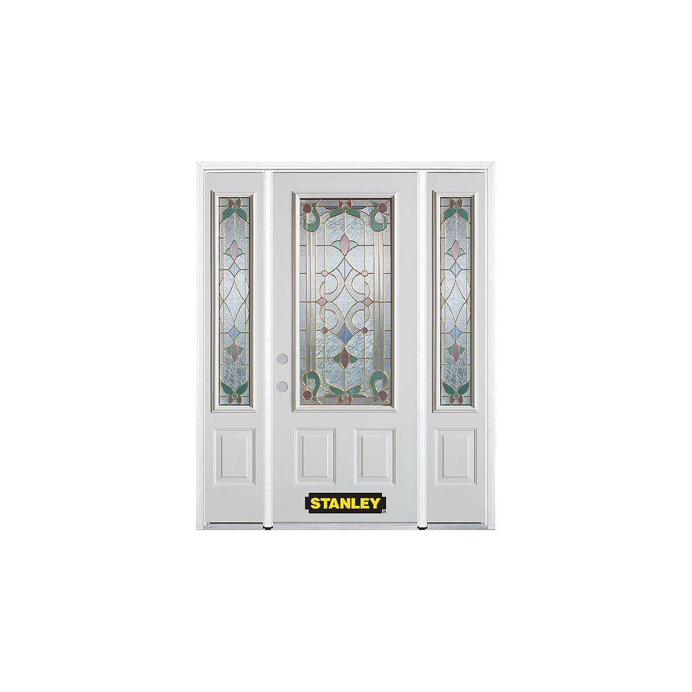 STANLEY Doors 68.5 inch x 82.375 inch Aristocrat Brass 3/4 Lite 2-Panel Prefinished White Right-Hand Inswing Steel Prehung Front Door with Sidelites and Brickmould