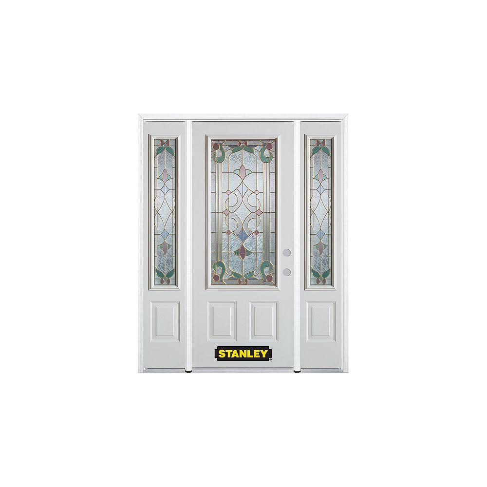STANLEY Doors Porte dentrée en acier préfini en blanc, munie de deux panneaux et dun 3/4 verre, 64 po x 82 po avec panneaux latéraux et moulure de brique