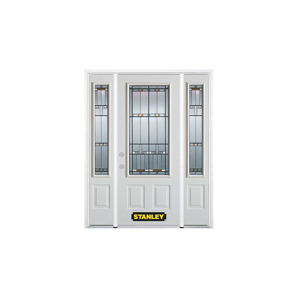 STANLEY Doors 64.5 inch x 82.375 inch Chicago Patina 3/4 Lite 2-Panel Prefinished White Right-Hand Inswing Steel Prehung Front Door with Sidelites and Brickmould