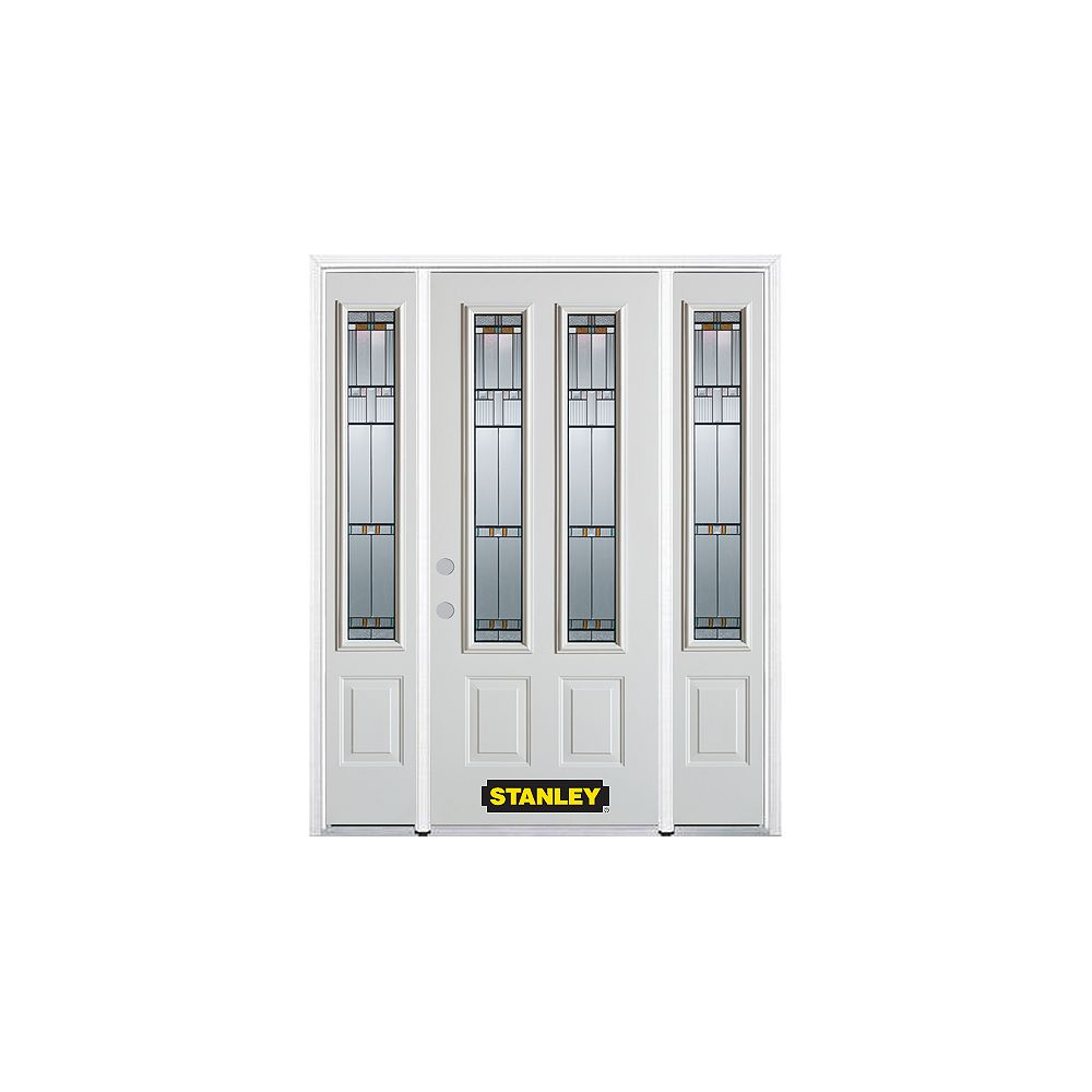 STANLEY Doors 68.5 inch x 82.375 inch Chicago Patina 2-Lite 2-Panel Prefinished White Right-Hand Inswing Steel Prehung Front Door with Sidelites and Brickmould - ENERGY STAR®
