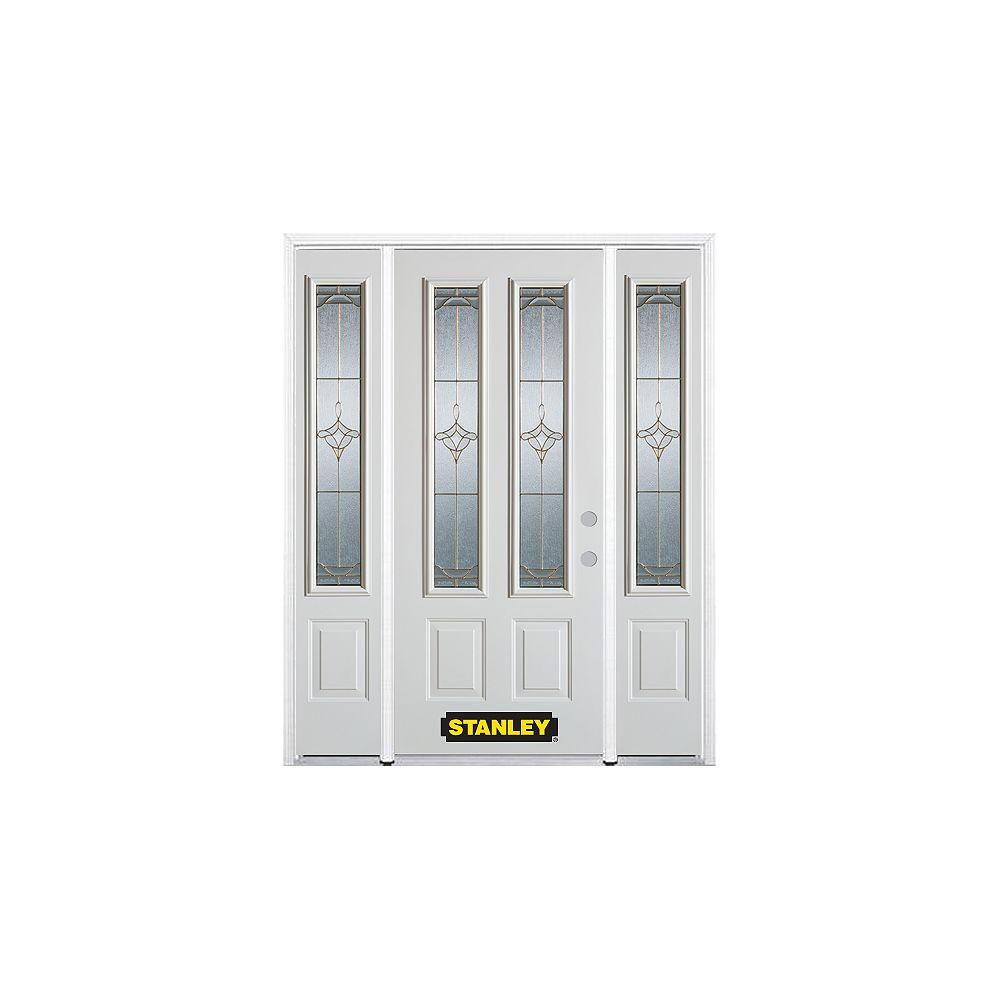 STANLEY Doors Porte dentrée en acier préfini en blanc, munie de deux panneaux et de deux verre, 68 po x 82 po avec panneaux latéraux et moulure de brique - ENERGY STAR®