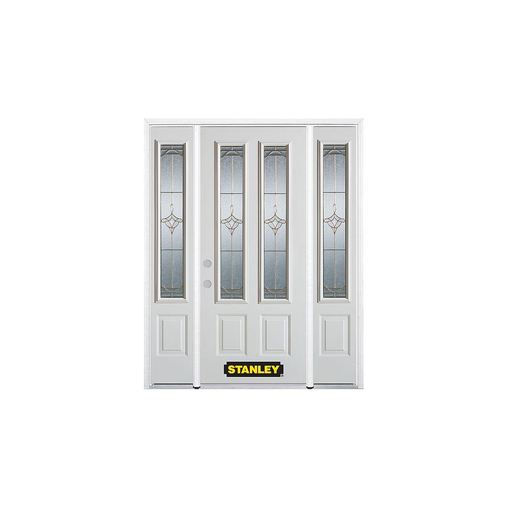 STANLEY Doors Porte dentrée en acier préfini en blanc, munie de deux panneaux et de deux verre, 66 po x 82 po avec panneaux latéraux et moulure de brique