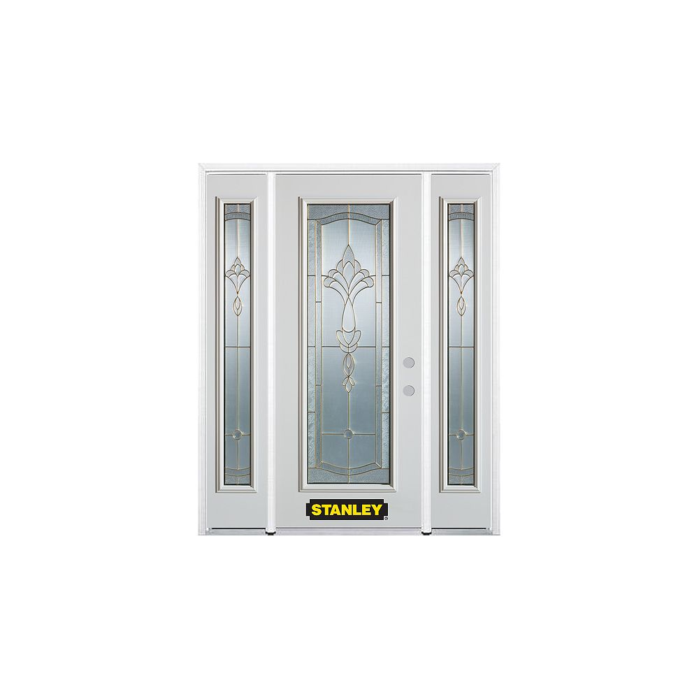 STANLEY Doors 64.5 inch x 82.375 inch Karina Brass Full Lite Prefinished White Left-Hand Inswing Steel Prehung Front Door with Sidelites and Brickmould
