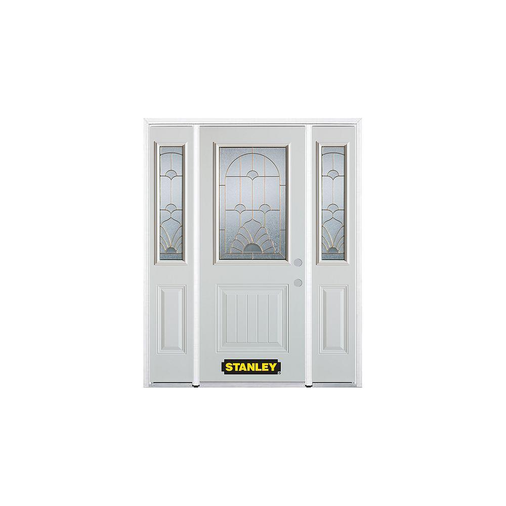 STANLEY Doors Porte dentrée en acier préfini en blanc, munie d'un panneau et dun 1/2 verre, 66 po x 82 po avec panneaux latéraux et moulure de brique - ENERGY STAR®