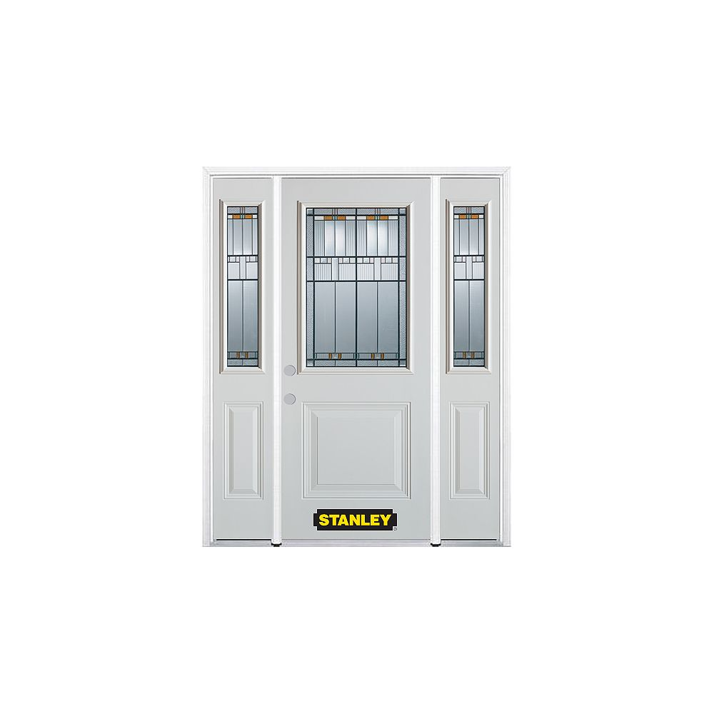 STANLEY Doors 66.5 inch x 82.375 inch Chicago Patina 1/2 Lite 1-Panel Prefinished White Right-Hand Inswing Steel Prehung Front Door with Sidelites and Brickmould - ENERGY STAR®
