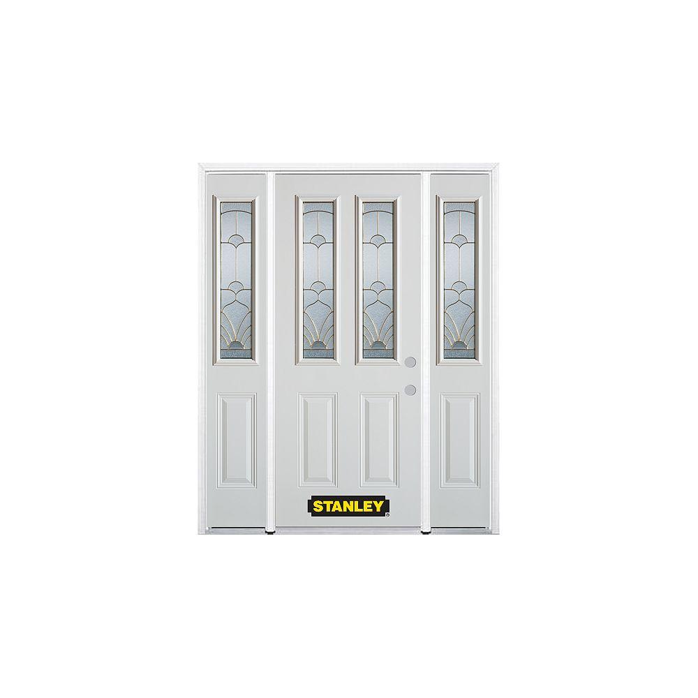 STANLEY Doors Porte dentrée en acier préfini en blanc, munie de deux panneaux et de deux verre, 64 po x 82 po avec panneaux latéraux et moulure de brique - ENERGY STAR®