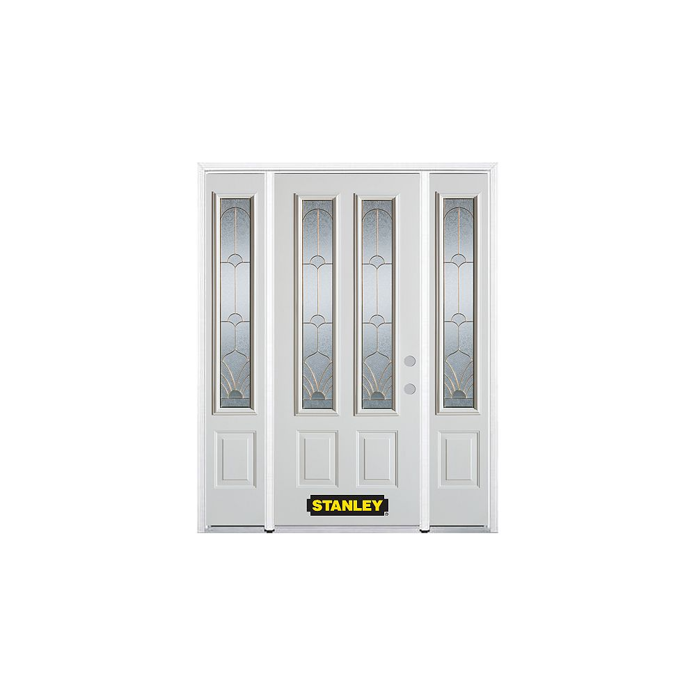 STANLEY Doors 64.5 inch x 82.375 inch Florentine Brass 2-Lite 2-Panel Prefinished White Left-Hand Inswing Steel Prehung Front Door with Sidelites and Brickmould - ENERGY STAR®