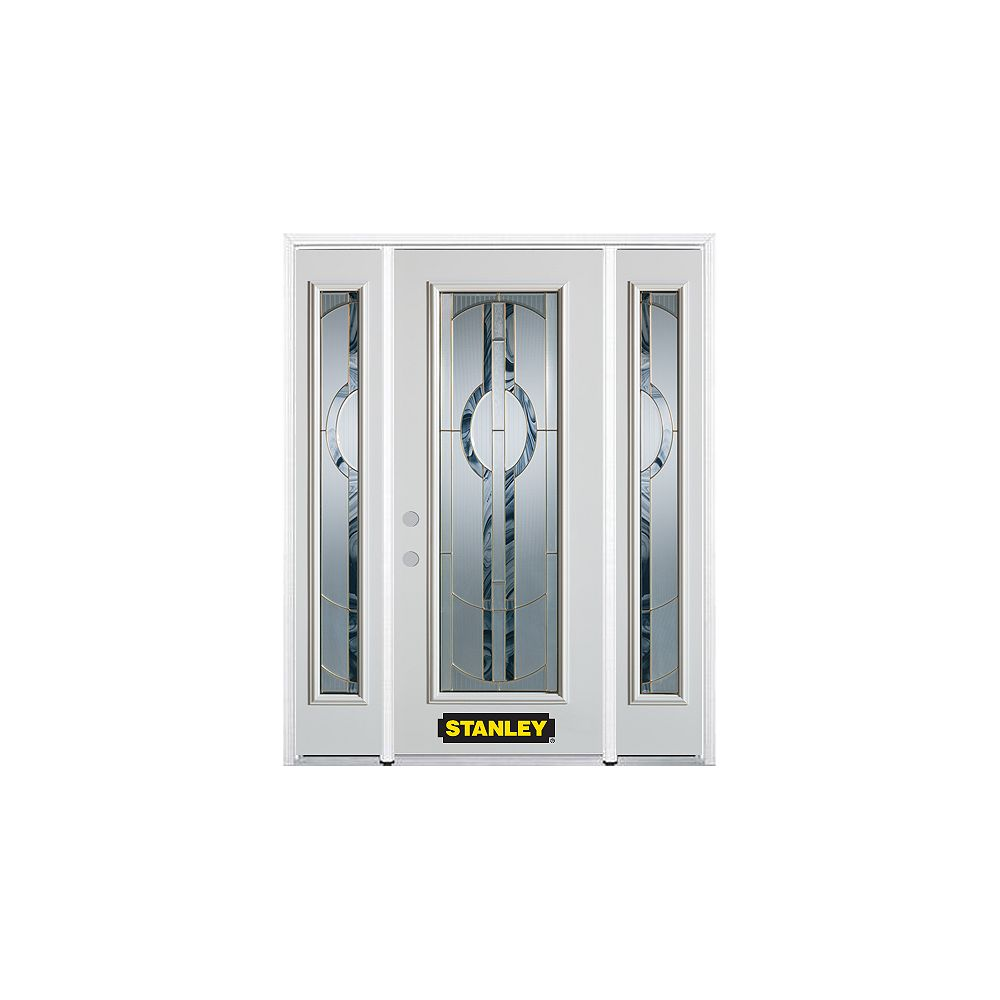 STANLEY Doors 64.5 inch x 82.375 inch Stephany Brass Full Lite Prefinished White Right-Hand Inswing Steel Prehung Front Door with Sidelites and Brickmould