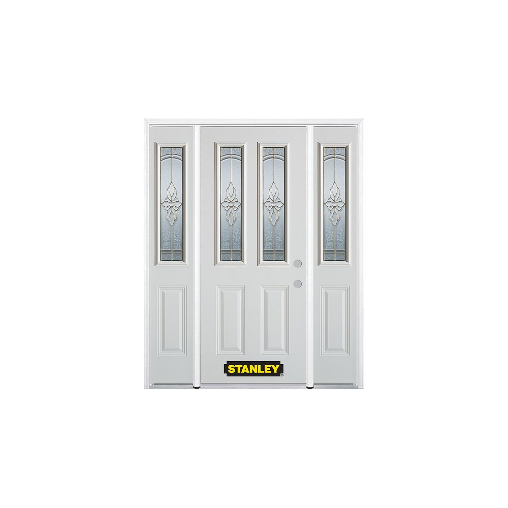 STANLEY Doors 66.5 inch x 82.375 inch Trellis Brass 2-Lite 2-Panel Prefinished White Left-Hand Inswing Steel Prehung Front Door with Sidelites and Brickmould