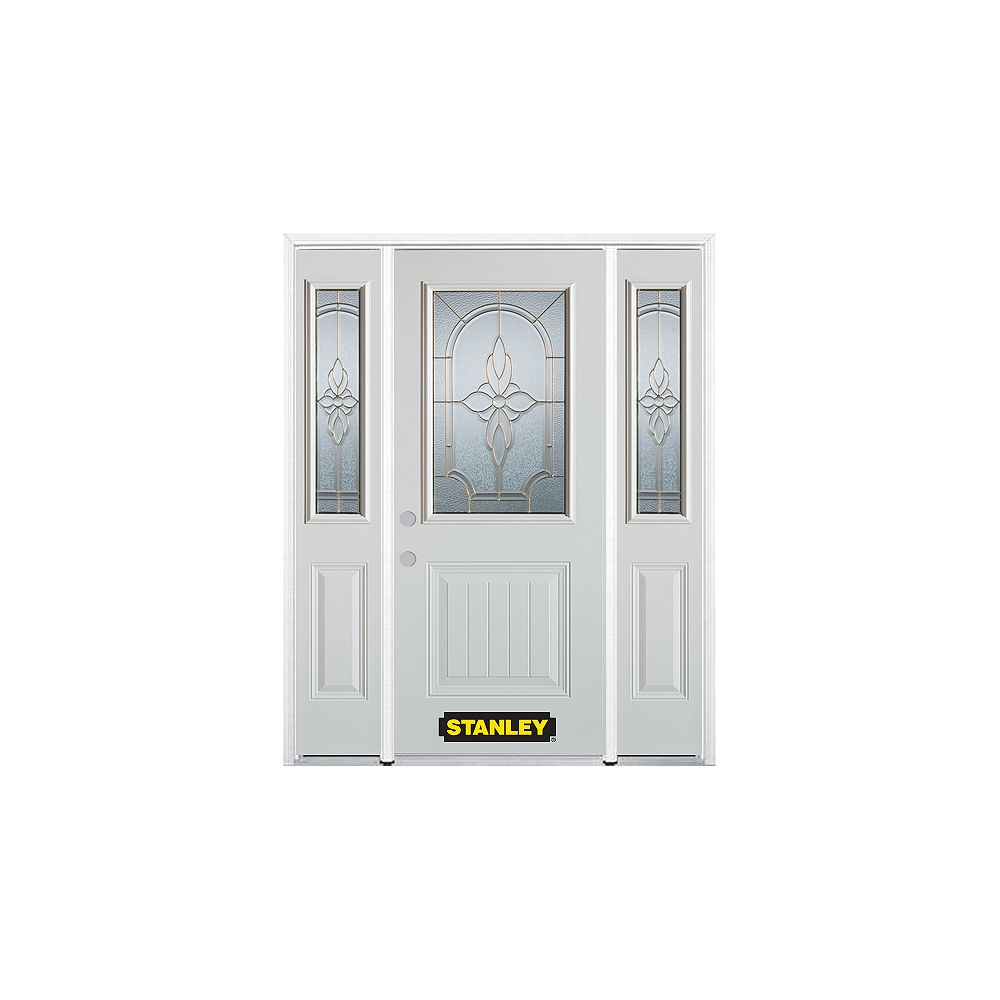 STANLEY Doors 68.5 inch x 82.375 inch Trellis Brass 1/2 Lite 1-Panel Prefinished White Right-Hand Inswing Steel Prehung Front Door with Sidelites and Brickmould