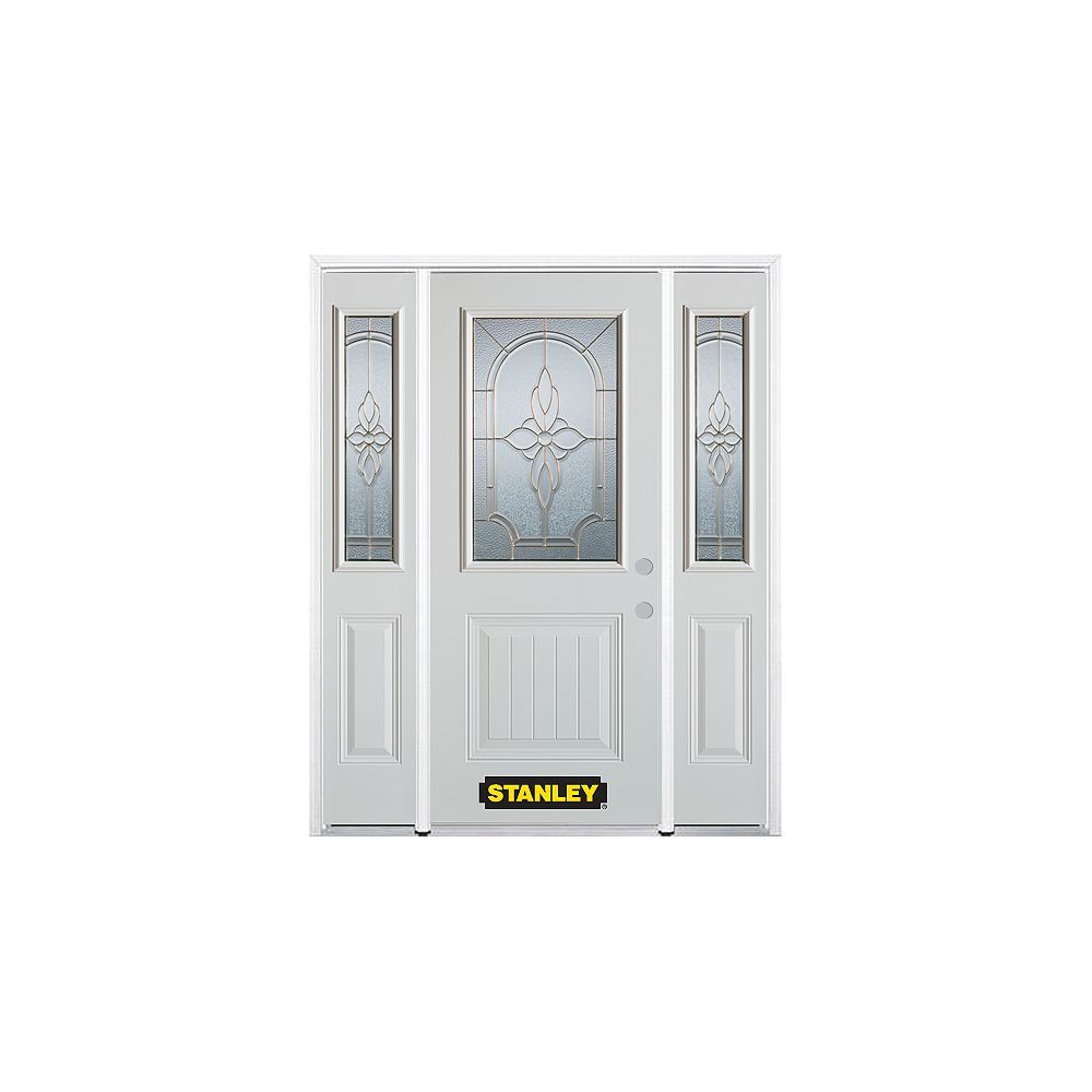 STANLEY Doors 68.5 inch x 82.375 inch Trellis Brass 1/2 Lite 1-Panel Prefinished White Left-Hand Inswing Steel Prehung Front Door with Sidelites and Brickmould