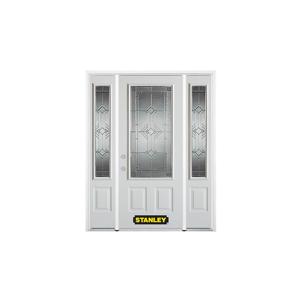 STANLEY Doors 64.5 inch x 82.375 inch Neo Deco Zinc 3/4 Lite 2-Panel Prefinished White Right-Hand Inswing Steel Prehung Front Door with Sidelites and Brickmould