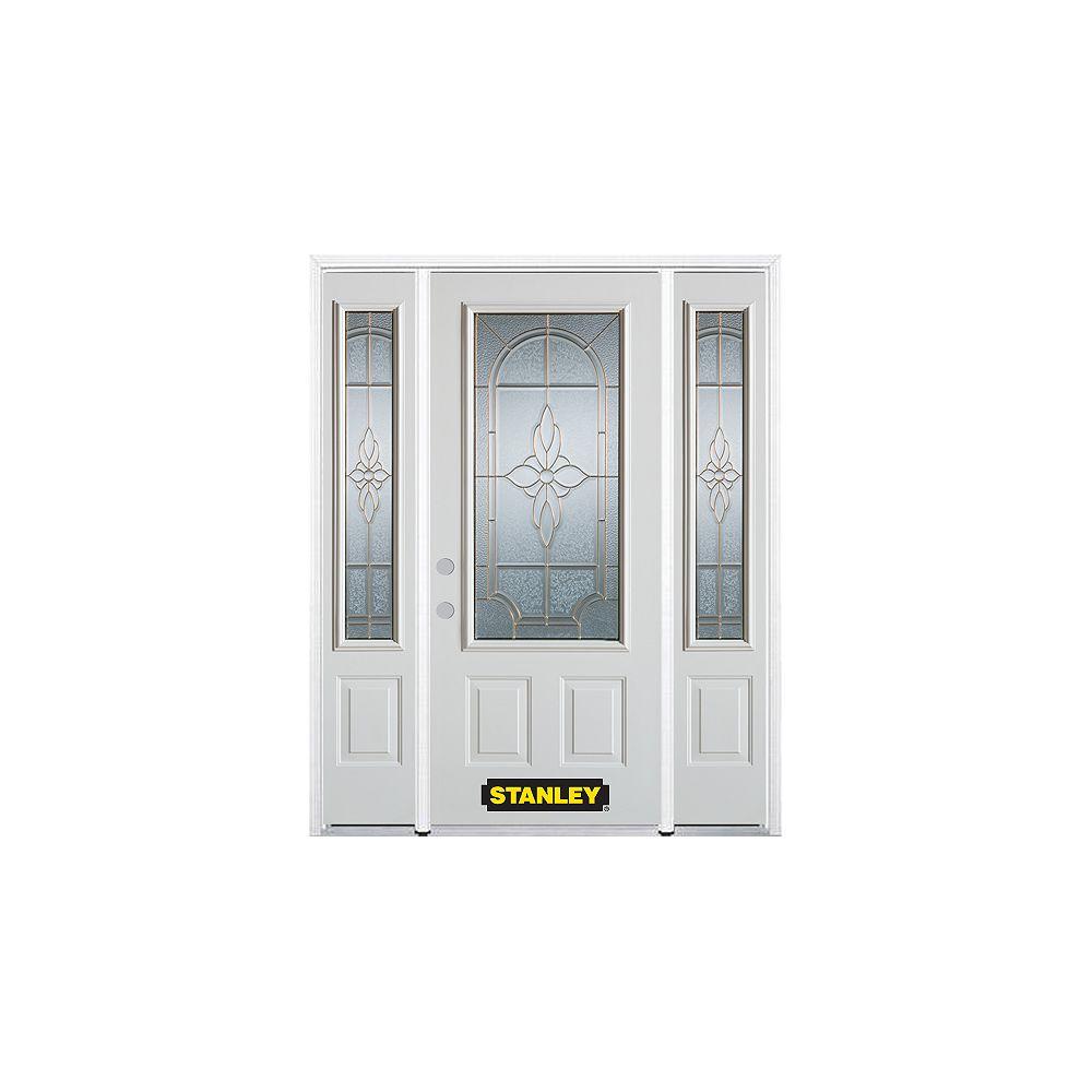 STANLEY Doors Porte dentrée en acier préfini en blanc, munie de deux panneaux et dun 3/4 verre, 68 po x 82 po avec panneaux latéraux et moulure de brique - ENERGY STAR®