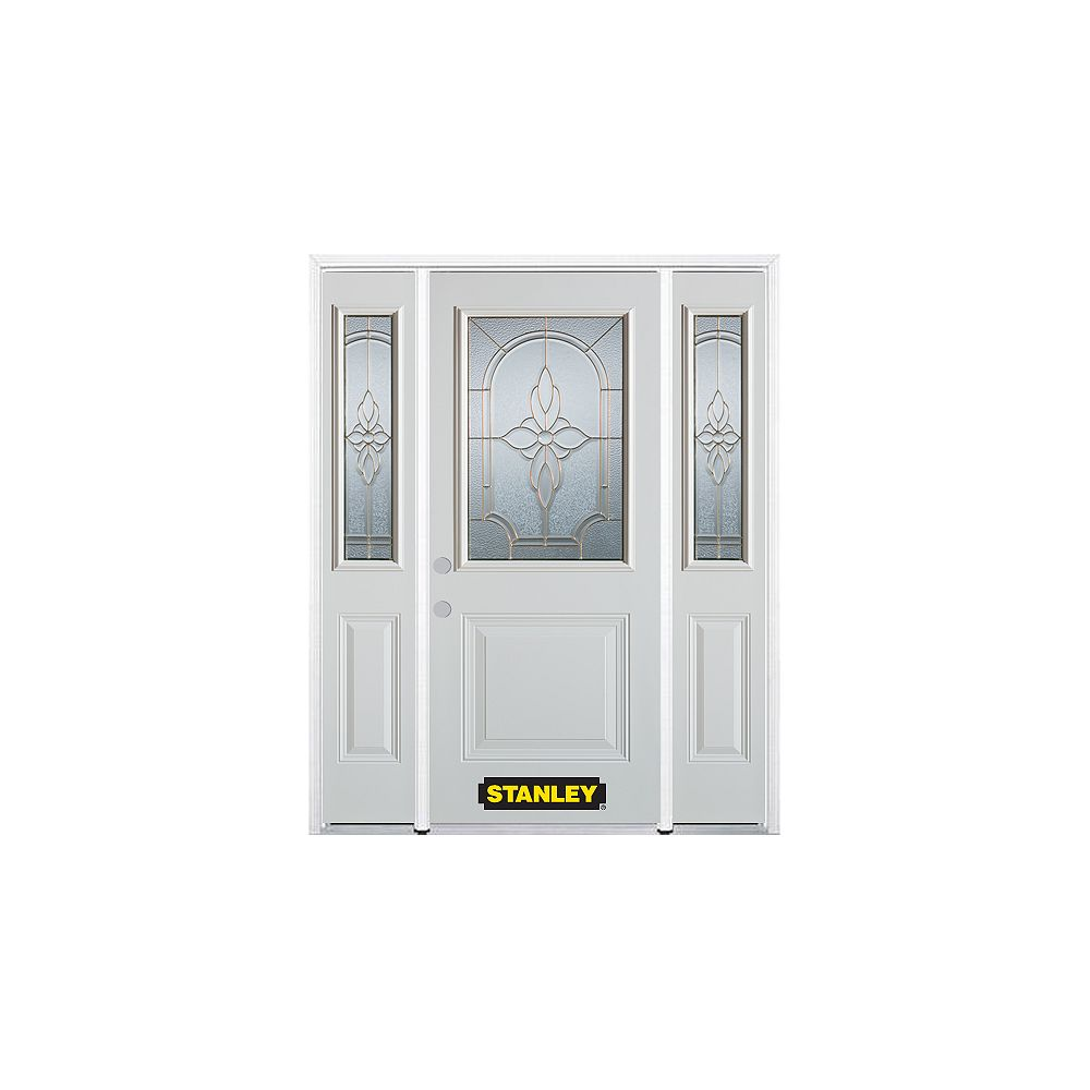 STANLEY Doors 68.5 inch x 82.375 inch Trellis Brass 1/2 Lite 1-Panel Prefinished White Right-Hand Inswing Steel Prehung Front Door with Sidelites and Brickmould - ENERGY STAR®
