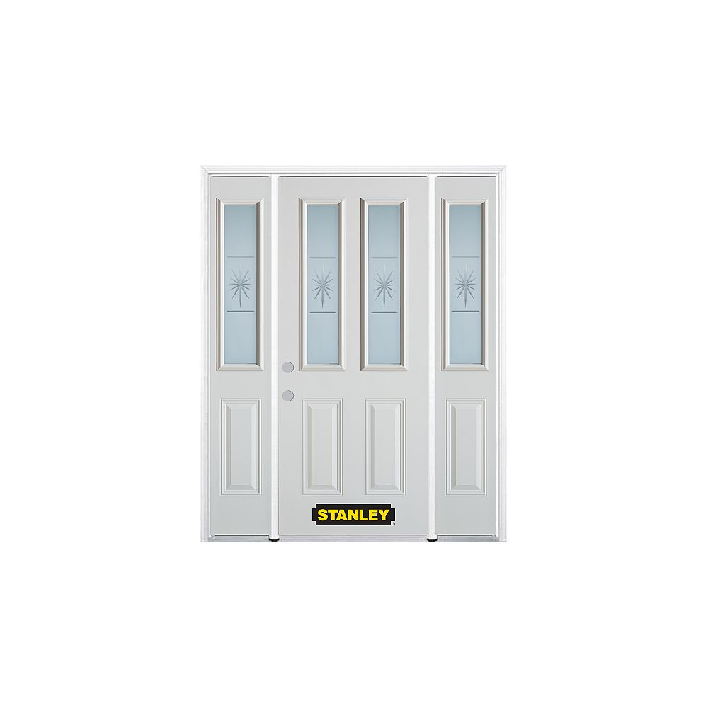 STANLEY Doors 66.5 inch x 82.375 inch Beaujolais 2-Lite 2-Panel Prefinished White Right-Hand Inswing Steel Prehung Front Door with Sidelites and Brickmould