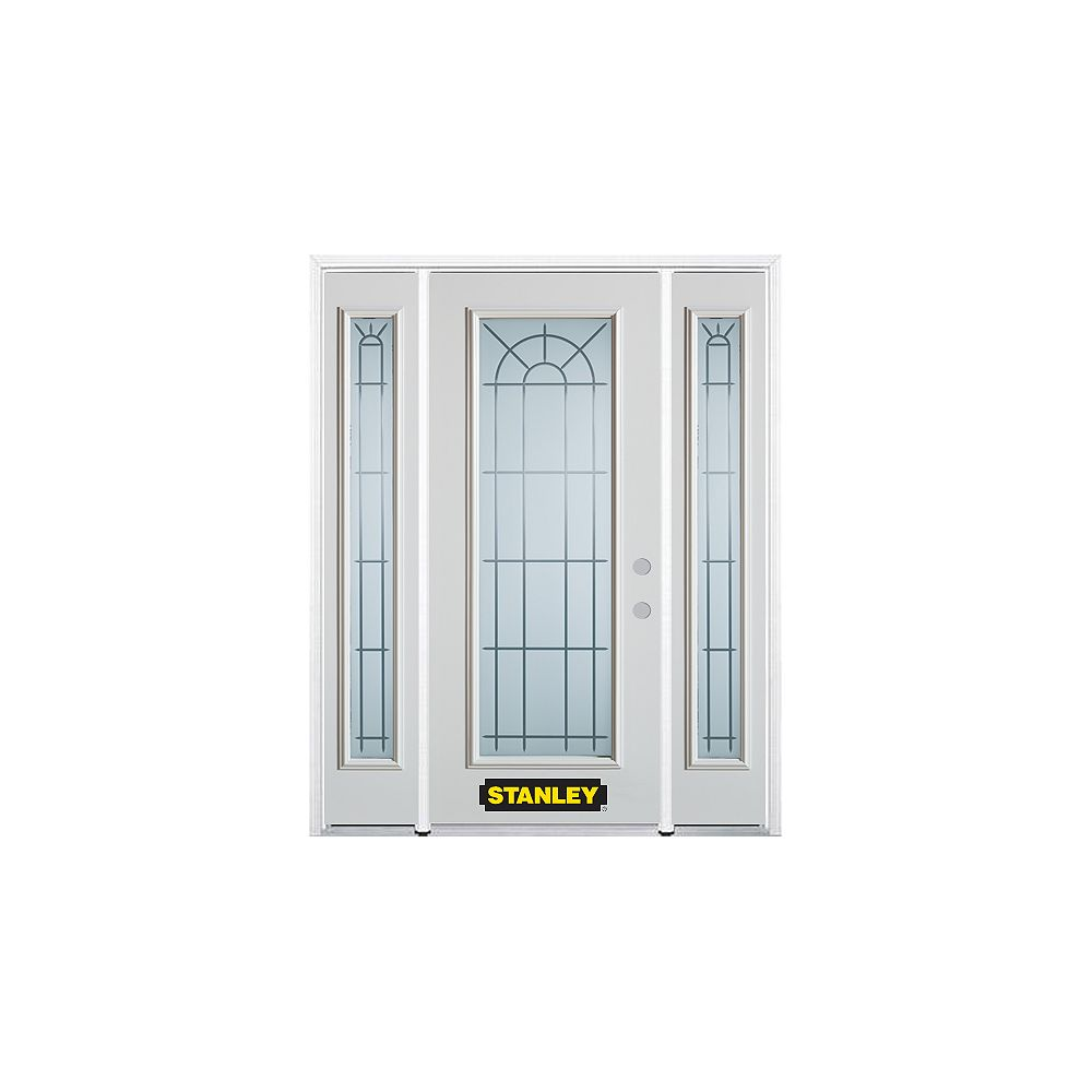 STANLEY Doors 68.5 inch x 82.375 inch Chablis Full Lite Prefinished White Left-Hand Inswing Steel Prehung Front Door with Sidelites and Brickmould