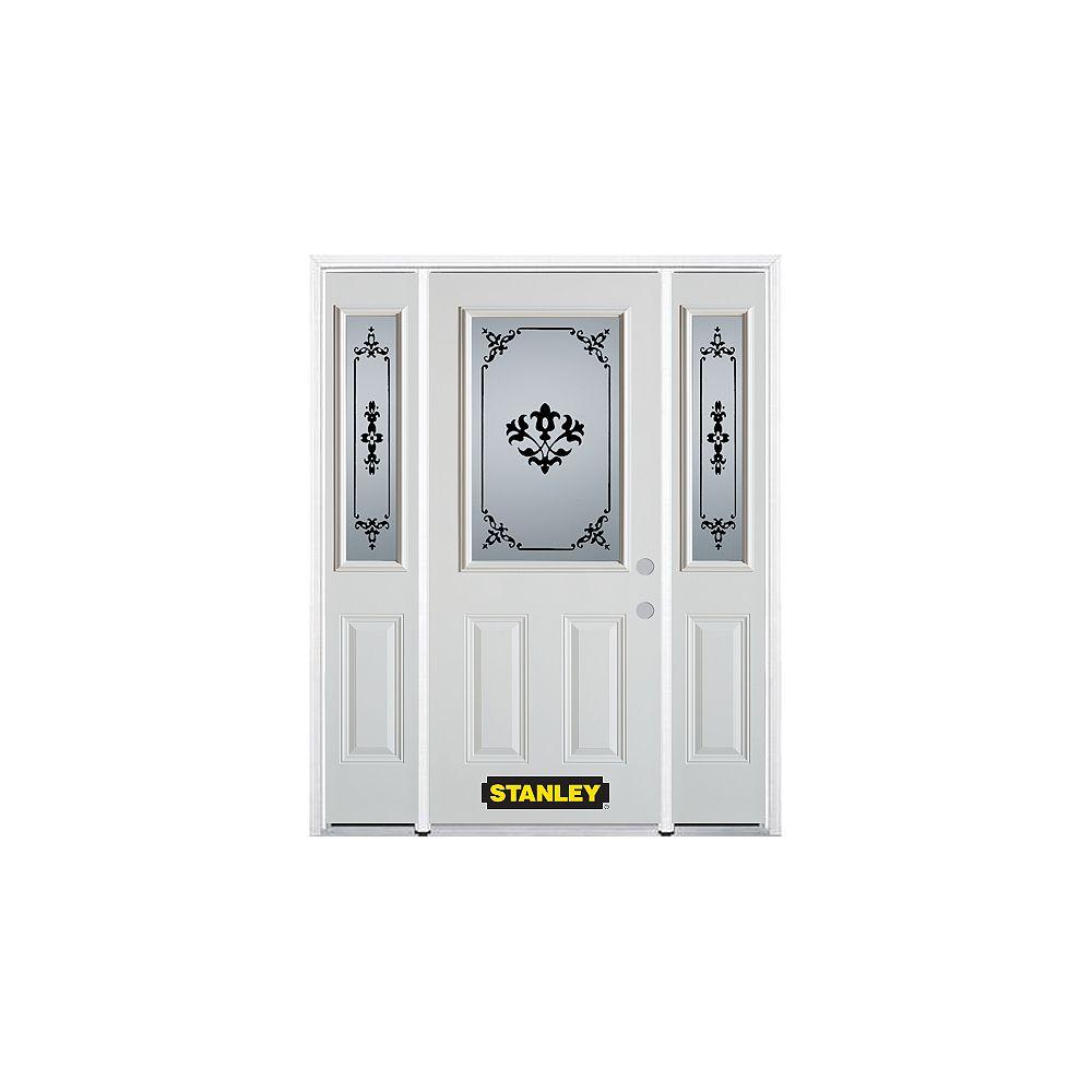 STANLEY Doors Porte dentrée en acier préfini en blanc, munie de deux panneaux et dun 1/2 verre, 66 po x 82 po avec panneaux latéraux et moulure de brique