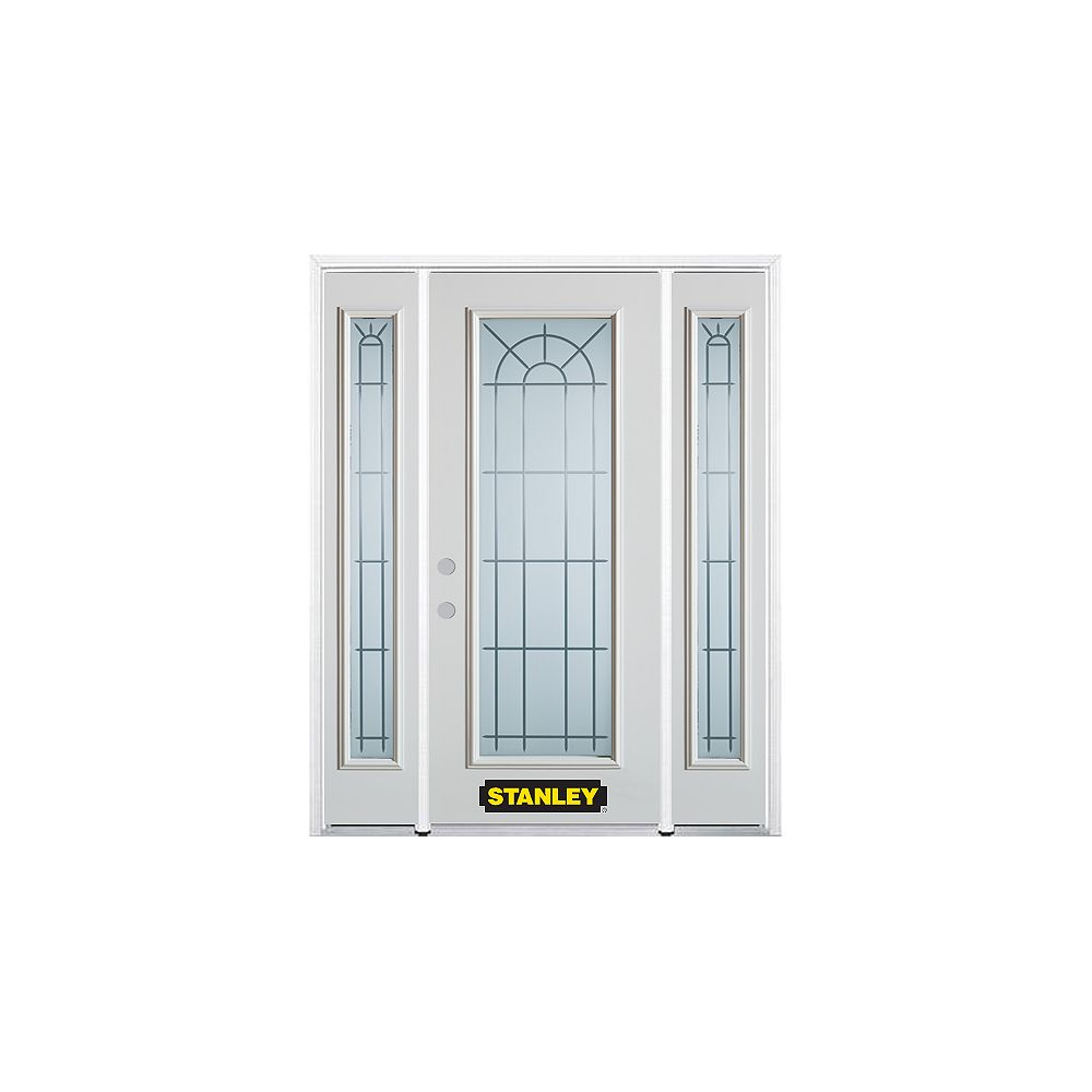 STANLEY Doors 64.5 inch x 82.375 inch Chablis Full Lite Prefinished White Right-Hand Inswing Steel Prehung Front Door with Sidelites and Brickmould