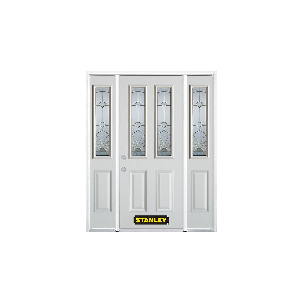STANLEY Doors 68.5 inch x 82.375 inch Florentine Brass 2-Lite 2-Panel Prefinished White Right-Hand Inswing Steel Prehung Front Door with Sidelites and Brickmould - ENERGY STAR®