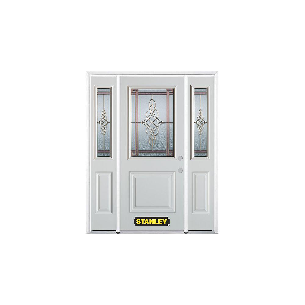 STANLEY Doors Porte dentrée en acier préfini en blanc, munie d'un panneau et dun 1/2 verre, 68 po x 82 po avec panneaux latéraux et moulure de brique - ENERGY STAR®