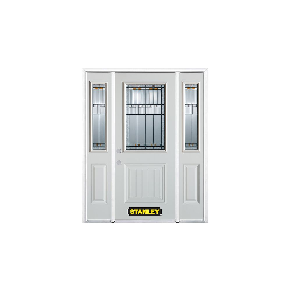 STANLEY Doors 64.5 inch x 82.375 inch Chicago Patina 1/2 Lite 1-Panel Prefinished White Right-Hand Inswing Steel Prehung Front Door with Sidelites and Brickmould