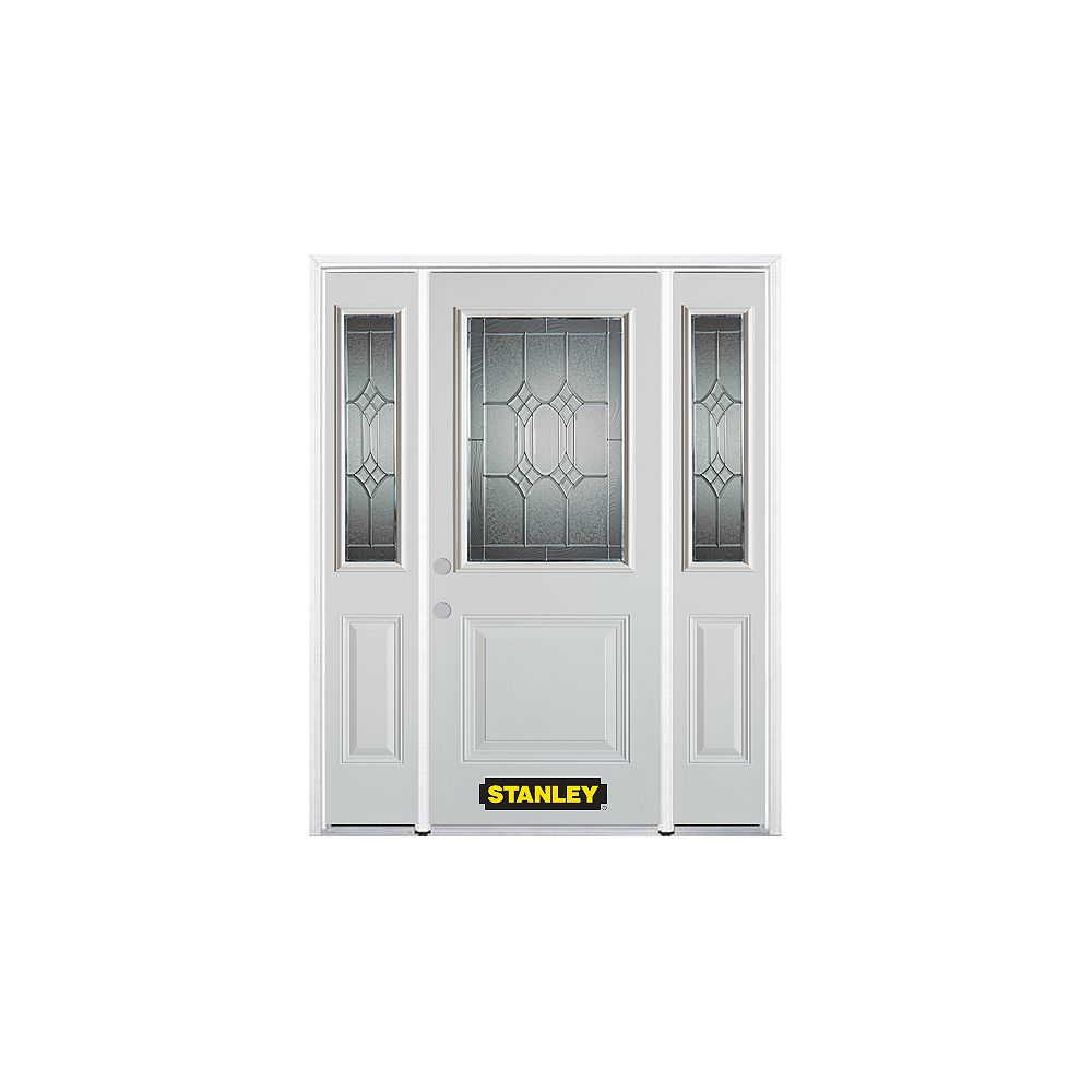 STANLEY Doors 66.5 inch x 82.375 inch Orleans Patina 1/2 Lite 1-Panel Prefinished White Right-Hand Inswing Steel Prehung Front Door with Sidelites and Brickmould