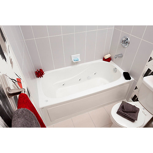Sydney 5-ft. Acrylic Drop-in Rectangular Whirlpool Bathtub in White