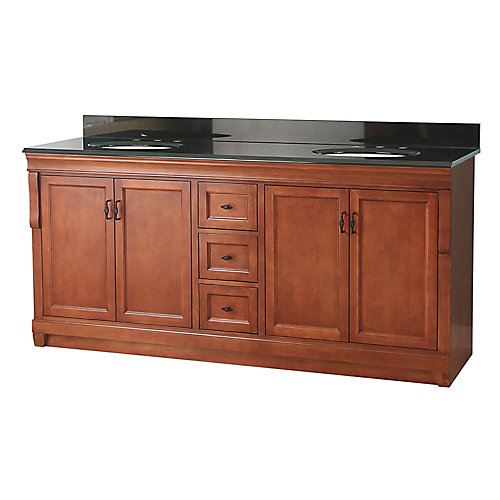 Naples 72-inch W Vanity in Warm Cinnamon Finish with Granite Top in Black