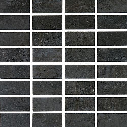 Eliane Cityscape T-1000 Noir Mosaïque Carreaux de Porcelaine de Mur et Sol (Feuille de 12 po X 12 po)