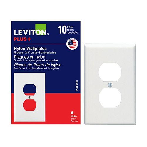 Plaque murale simple en nylon pour prise double, Pq de 10, blanc