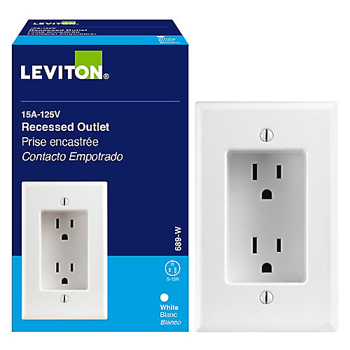 Duplex Single Gang Recessed Receptacle, White