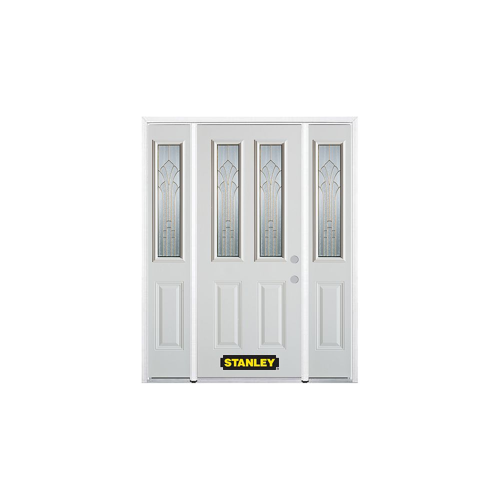 STANLEY Doors 68.5 inch x 82.375 inch Gladis Brass 2-Lite 2-Panel Prefinished White Left-Hand Inswing Steel Prehung Front Door with Sidelites and Brickmould