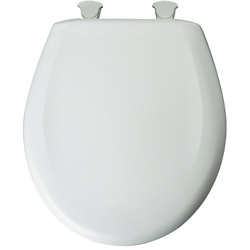 Round Plastic Toilet Seat with Whisper Close and Easy Clean & Change Hinge in White