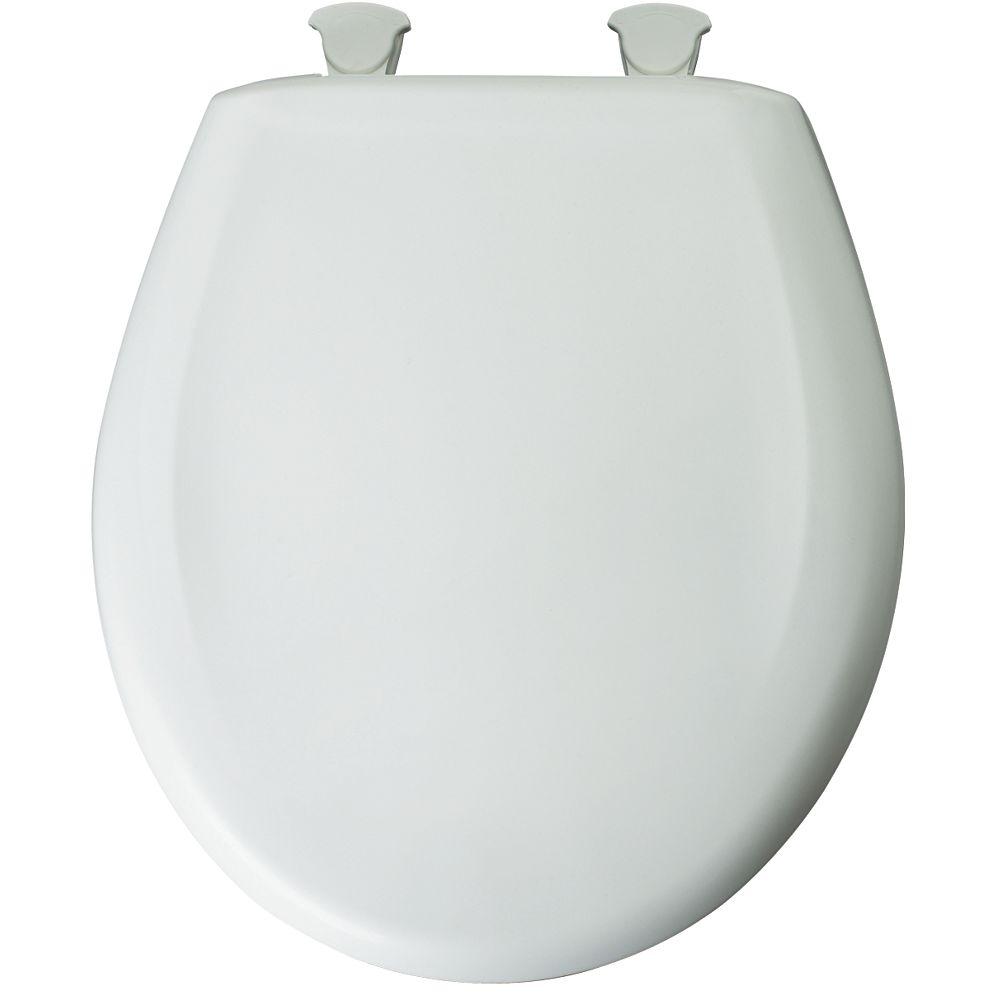 Bemis Siège de W.C. rond en plastique solide avec Whisper Close et charnières Easy Clean & Change et STA-TITE - Blanc