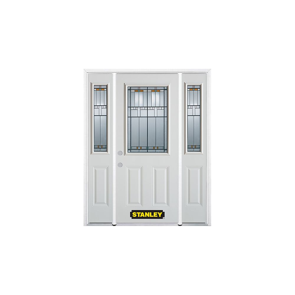 STANLEY Doors 68.5 inch x 82.375 inch Chicago Patina 1/2 Lite 2-Panel Prefinished White Right-Hand Inswing Steel Prehung Front Door with Sidelites and Brickmould - ENERGY STAR®