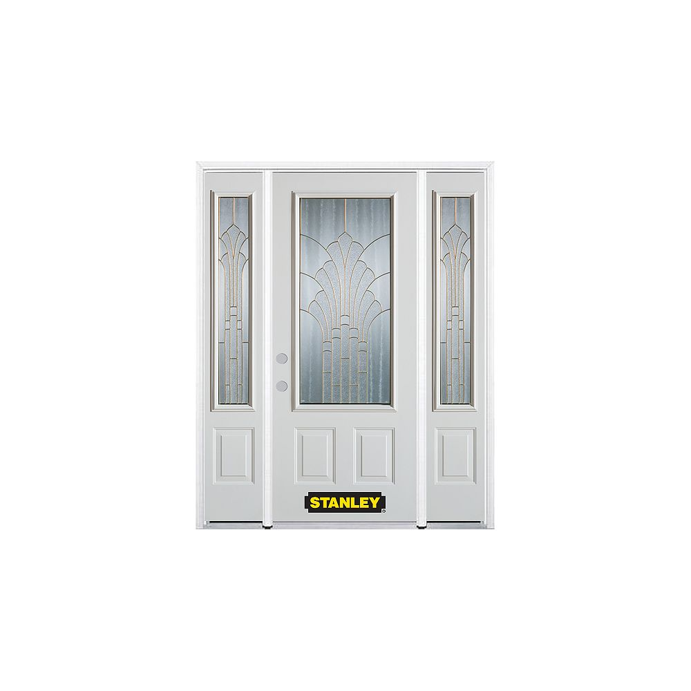 STANLEY Doors 68.5 inch x 82.375 inch Gladis Brass 3/4 Lite 2-Panel Prefinished White Right-Hand Inswing Steel Prehung Front Door with Sidelites and Brickmould