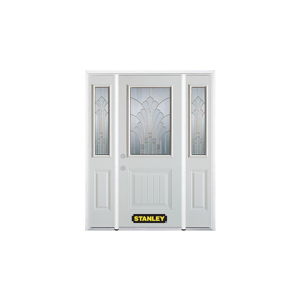 STANLEY Doors Porte dentrée en acier préfini en blanc, munie d'un panneau et dun 1/2 verre, 64 po x 82 po avec panneaux latéraux et moulure de brique