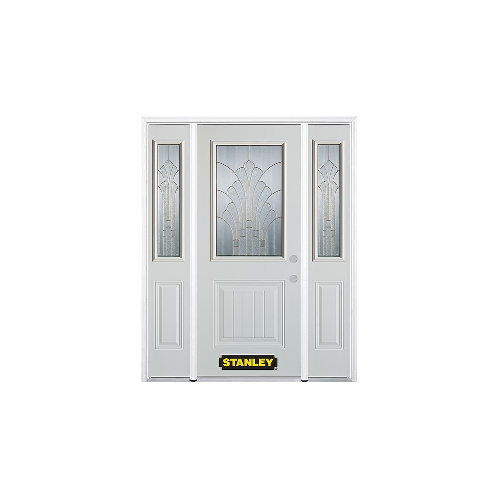 STANLEY Doors 68.5 inch x 82.375 inch Gladis Brass 1/2 Lite 1-Panel Prefinished White Left-Hand Inswing Steel Prehung Front Door with Sidelites and Brickmould