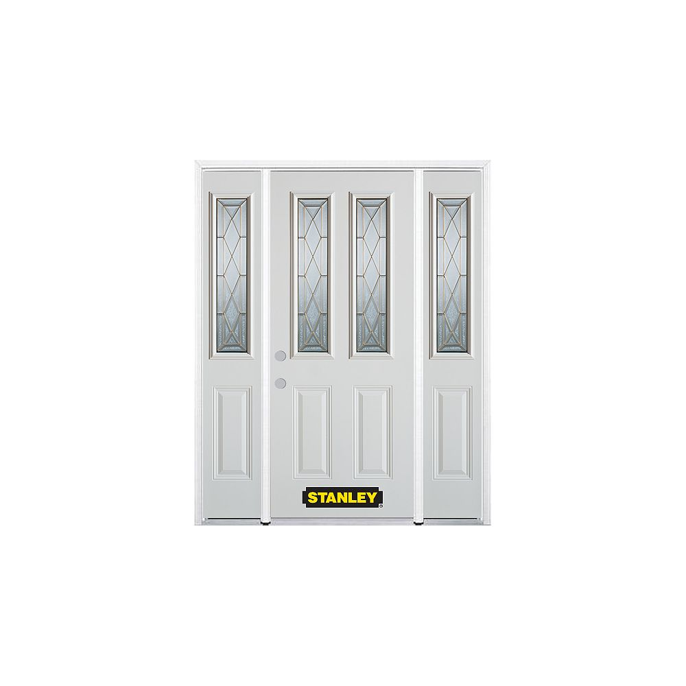 STANLEY Doors 66.5 inch x 82.375 inch Queen Anne Brass 2-Lite 2-Panel Prefinished White Right-Hand Inswing Steel Prehung Front Door with Sidelites and Brickmould