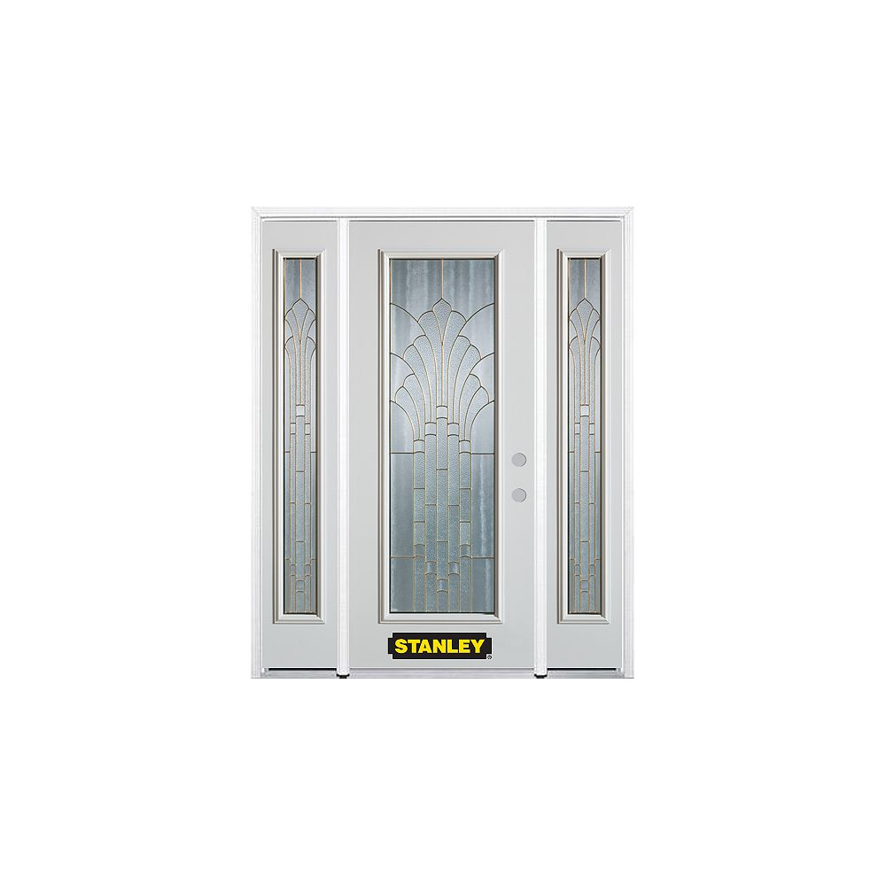STANLEY Doors 64.5 inch x 82.375 inch Gladis Brass Full Lite Prefinished White Left-Hand Inswing Steel Prehung Front Door with Sidelites and Brickmould