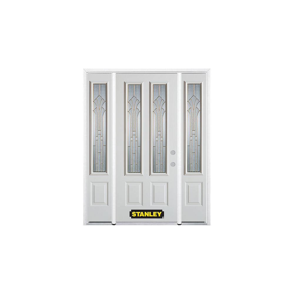 STANLEY Doors 68.5 inch x 82.375 inch Gladis Brass 2-Lite 2-Panel Prefinished White Left-Hand Inswing Steel Prehung Front Door with Sidelites and Brickmould - ENERGY STAR®