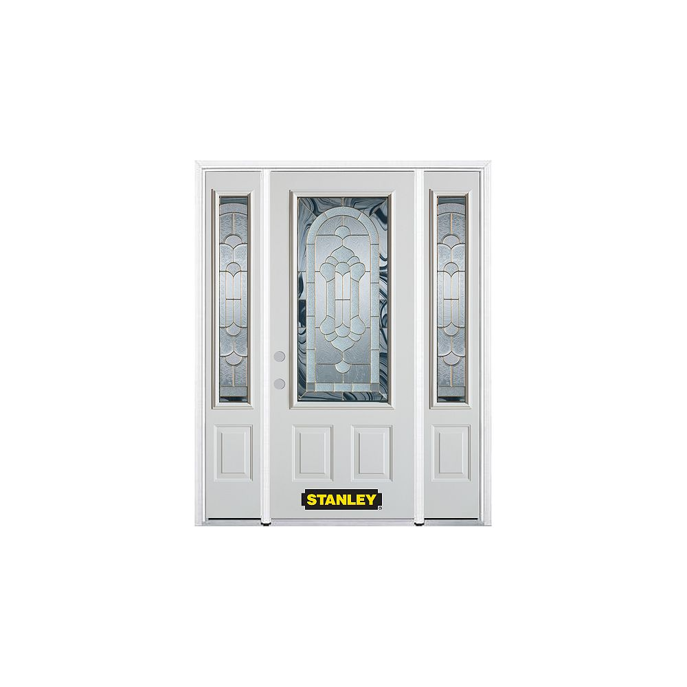 STANLEY Doors 68.5 inch x 82.375 inch Radiance Brass 3/4 Lite 2-Panel Prefinished White Right-Hand Inswing Steel Prehung Front Door with Sidelites and Brickmould